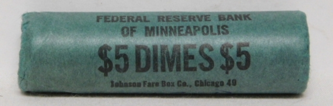 Original Uncirculated Bank Roll 1963-D Silver Roosevelt Dimes from the Federal Reserve Bank of Minneapolis