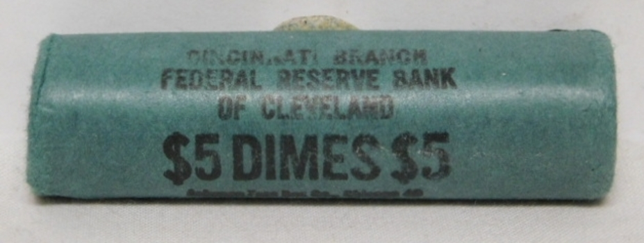Original Uncirculated Bank Roll 1964-D Silver Roosevelt Dimes from the Federal Reserve Bank of Cleveland - Cincinnati Branch
