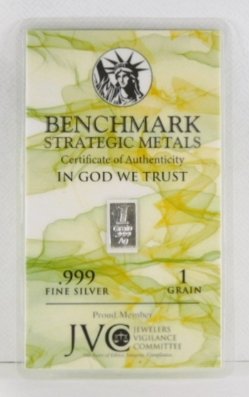 1 Grain of .999 Fine Silver Bar - Benchmark Strategic Metals with Certificate of Authenticity