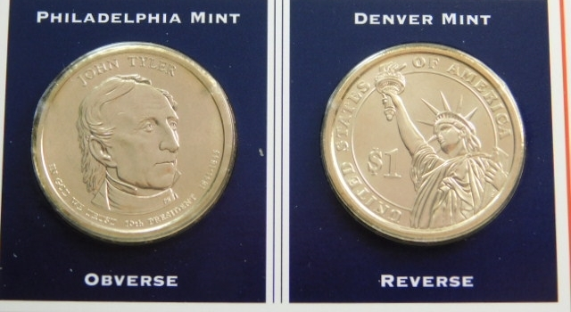 2009 P & D Mints John Tyler Presidential Dollar Coins (2) Uncirculated On informational Card