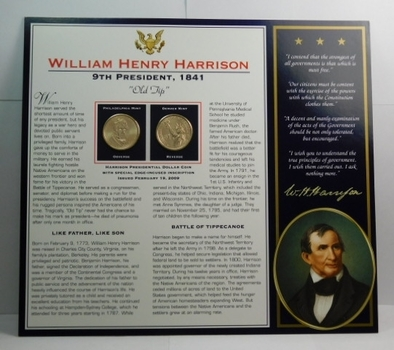 2009 P & D Mints William Harrison Presidential Dollars (2) Uncirculated On Informational Card