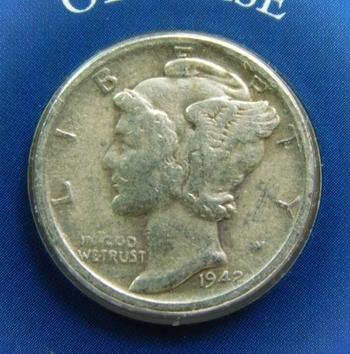 1942-S Mercury Dime On Custom Informational Card