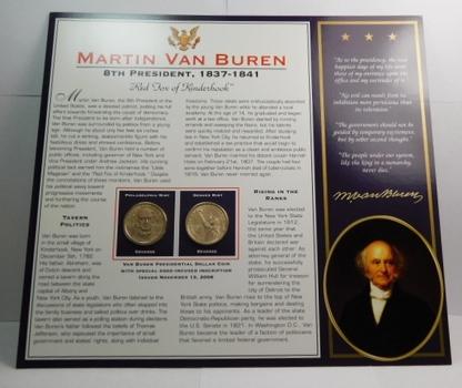 2008 P & D Mints Martin Van Buren Dollar Coins (2) Uncirculated On Informational Card