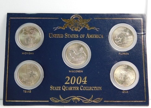 2004 US State Quarter Collection Brilliant Uncirculated Housed Within Custom Case