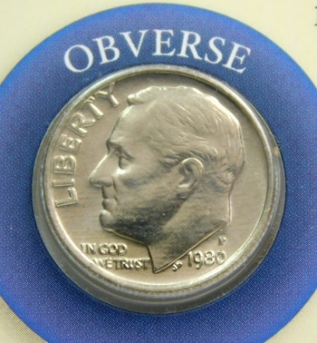 1980-P Roosevelt Dime with Custom Informational Card