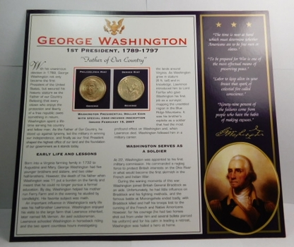 2007 P & D Mints George Washington Presidential Uncirculated Dollar Coins (2) On Informational Card