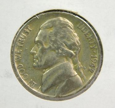 1942-P Silver Jefferson Nickel - World War II Era - Nice Higher Grade