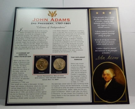 2007 P & D Mints John Adams Presidential Dollar Coins (2) Uncirculated On Informational Card