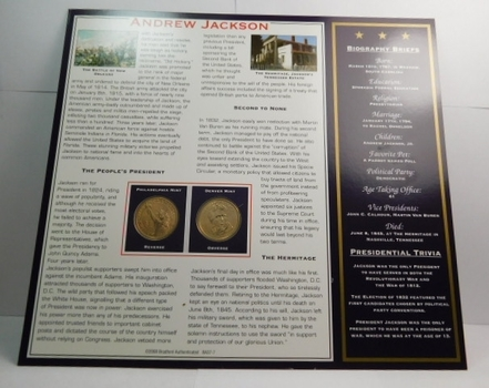 2008 P & D Mints Andrew Jackson Presidential Dollar Coins (2) Uncirculated On Informational Card