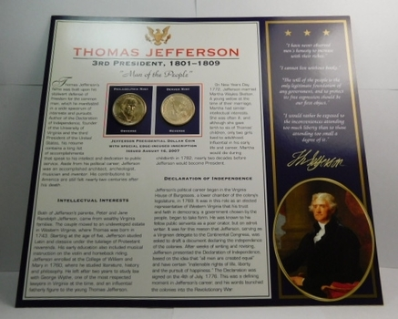 2007 P & D Mints Thomas Jefferson Presidential Dollar Coins (2) Uncirculated On Informational Card