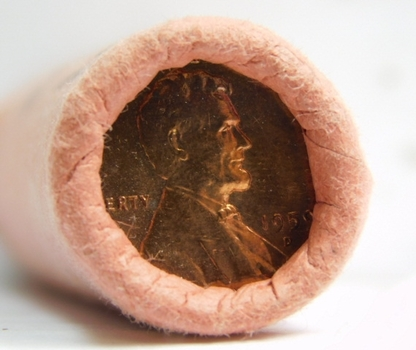 1959-D Uncirculated Original Bank Wrapped Roll Lincoln Pennies