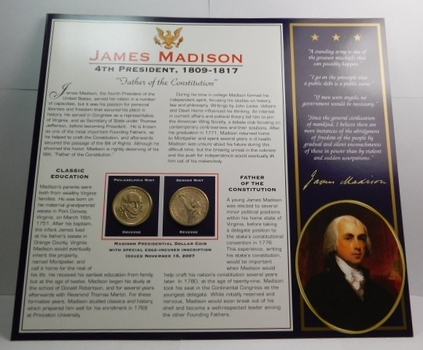 2007 P & D mints James Madison Dollar Coins (2) Uncirculated On Informational Card