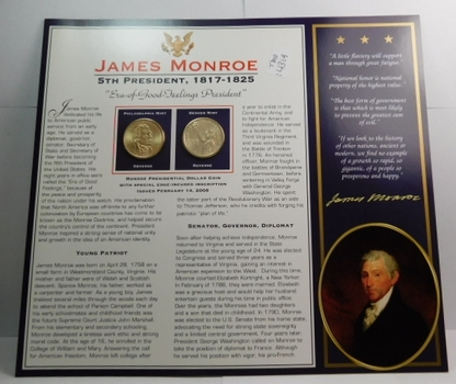 2008 P & D Mints James Monroe Dollar Coins (2) Uncirculated On Informational Card