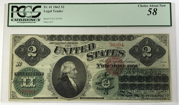 Rare 1862 $2 Legal Tender Note - Fr.41 - PCGS Graded Choice AU58