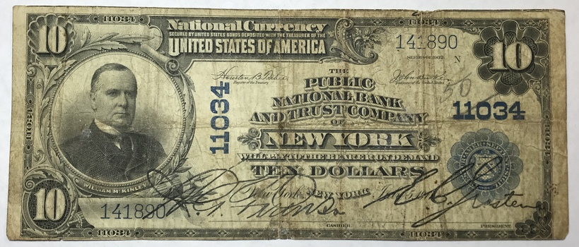 Series of 1902 $10 Public National Bank and Trust Company of New York - National Currency - Charter #11034