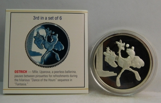 Disney Fantasia 50th Anniversary - One Troy Ounce .999 Fine Silver Medallion - 3rd in Set of 6; OSTRICH - #0049 with COA and History of Fantasia