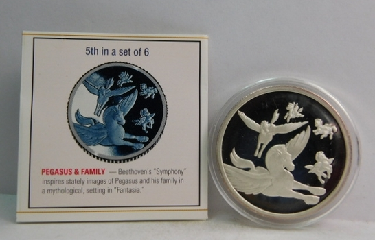 Disney Fantasia 50th Anniversary - One Troy Ounce .999 Fine Silver Medallion - 5TH in Set of 6; pegasus & family - #0049 with COA and History of Fantasia