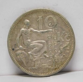1931 Czechoslovakia Silver 10 Korun