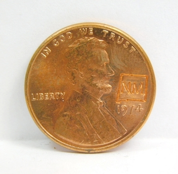 1974-D Brilliant Uncirculated Lincoln Cent Counter-Stamped W State of New Mexico & State Fact Card