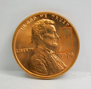 1974-D Brilliant Uncirculated Lincoln Cent Counter-Stamped W State of Indiana & State Fact Card