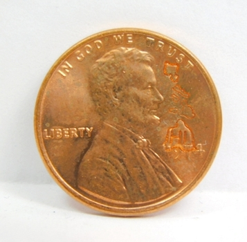 1974-D Brilliant Uncirculated Lincoln Cent Counter-Stamped W State of Hawaii & State Fact Card