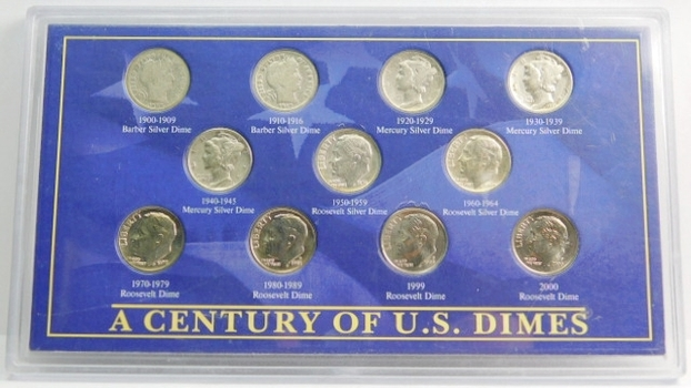 A Century Of US Dimes 7 Silver Dimes & 4 Modern Dimes Custom Holder (2) Barber (2) Mercury (2) Roosevelts