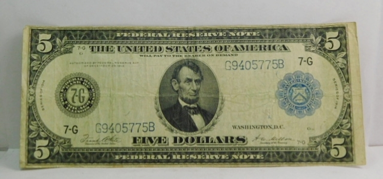 1914 Series Abraham Lincoln $5.00 Note