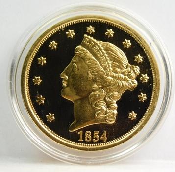 1854 24K Gold Plated Replica $20 Gold Proof Finish Custom Holder