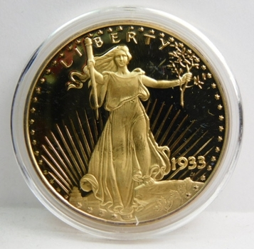1933 24K Gold Plated Replica $20 Gold Proof Finish Custom Holder