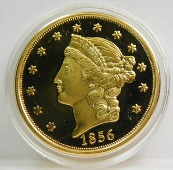 1856 24K Gold Plated Replica $20 Gold Proof Finish Custom Holder