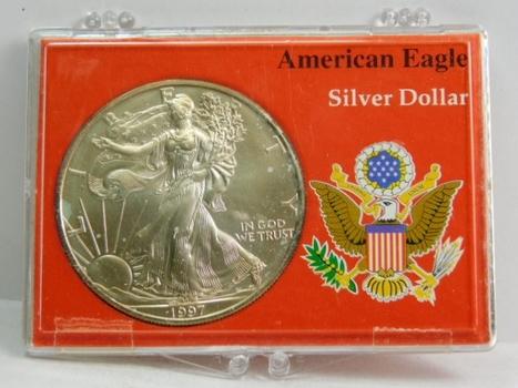 1997 US SILVER American Eagle Dollar Coin .999 SILVER Custom Snap Holder