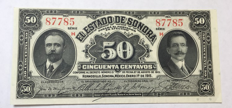 1915 Mexico Revolutionary State of Sonora 50 Centavos Note - Crisp Uncirculated Condition