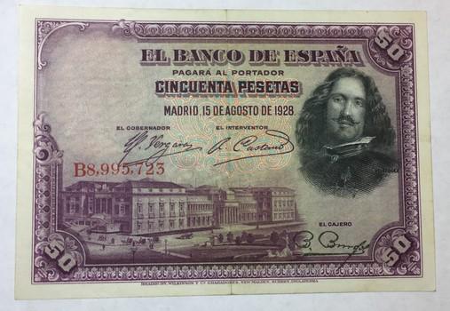1928 Spain 50 Pesetas - High Grade Note