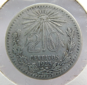 1925 Mexico Silver 20 Centavos