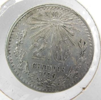 1926 Mexico Silver 20 Centavos