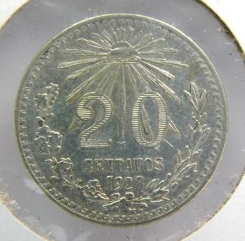 1928 Mexico Silver 20 Centavos