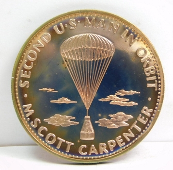 1962 Mercury VII - M. Scott Carpenter - Second U.S. Man in Orbit Space Commemorative Medal - Proof Condition