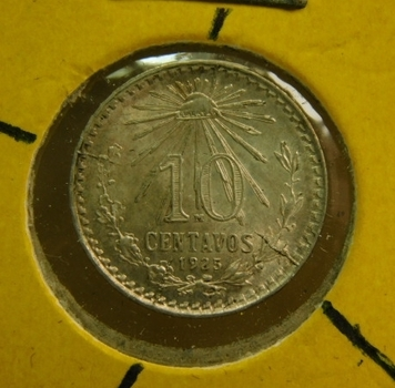 1925/3 Overdate Mexico Silver 10 Centavos - High Grade w/8 Major Die Cracks