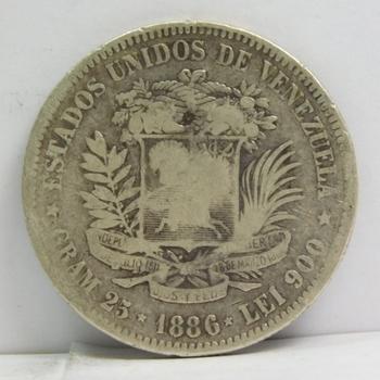1886 Venezuela Silver 5 Bolivares - 25 Grams Silver Weight