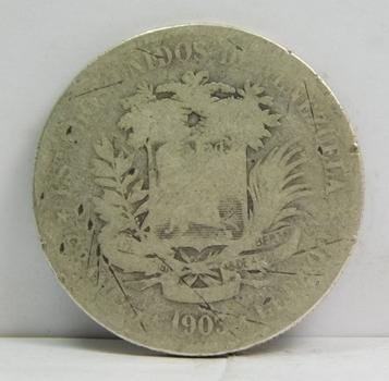 1903 Venezuela Silver 5 Bolivares - 25 Grams Silver Weight