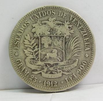 1912 Venezuela Silver 5 Bolivares - 25 Grams Silver Weight