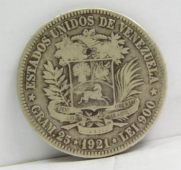 1921 Venezuela Silver 5 Bolivares - 25 Grams Silver Weight