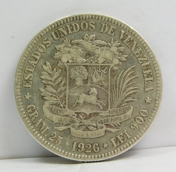 1926 Venezuela Silver 5 Bolivares - 25 Grams Silver Weight