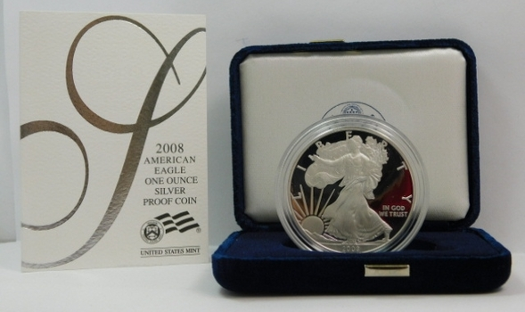 2008-W Proof American Silver Eagle - In Original West Point Mint Box and Blue Velvet Gift Box with COA