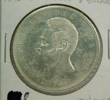 1943 Ecuador Silver 5 Sucres - 25 grams of Silver - High Grade
