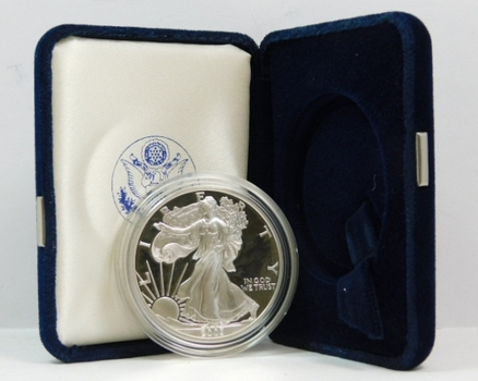 2003-W Proof American Silver Eagle - 1 oz .999 Fine Silver - In Original West Point Mint Velvet Gift Box with COA