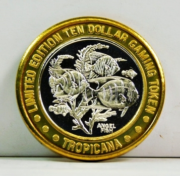 Silver Strike - .999 Fine Silver - Tropicana - Angel Fish  - Limited Edition $10 Gaming Token  - Las Vegas, Nevada