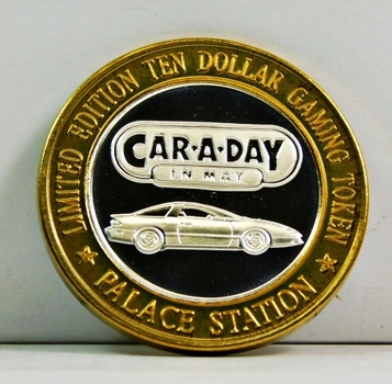 Silver Strike - .999 Fine Silver - Palace Station Hotel & Casino - Car.A.Day.In.May - Limited Edition $10 Gaming Token - Las Vegas, Nevada