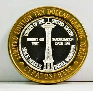 Silver Strike - .999 Fine Silver - Stratosphere - Towers of the United States Series - Space Needle; Seattle, Washington - Limited Edition $10 Gaming Token - Las Vegas, Nevada