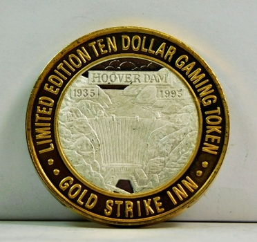 Silver Strike - .999 Fine Silver - Gold Strike Inn Casino - Featuring Boulder Dam - Limited Edition $10 Gaming Token  - Boulder City, Nevada
